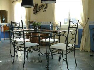 Table De Salle à Manger + 4 Chaises Fer Forge