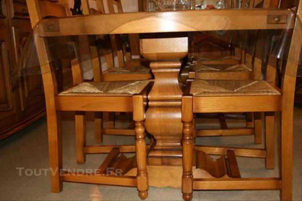 Table de salle a manger + 6 chaises 100% chene massif 86267643