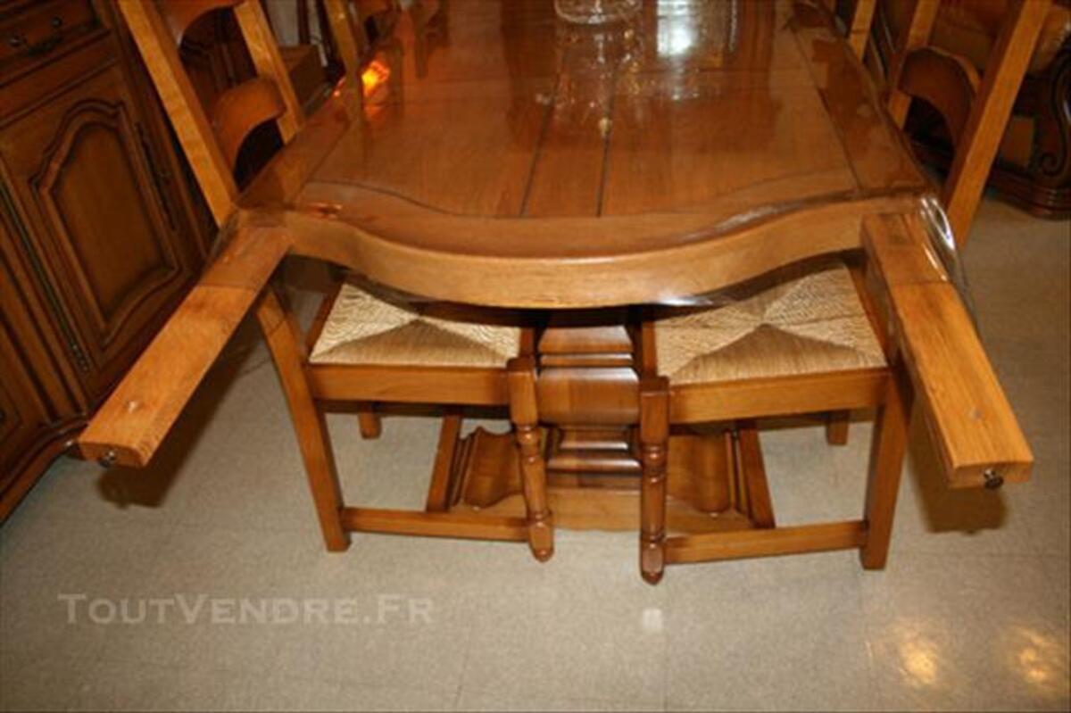Table de salle a manger + 6 chaises 100% chene massif 86267644