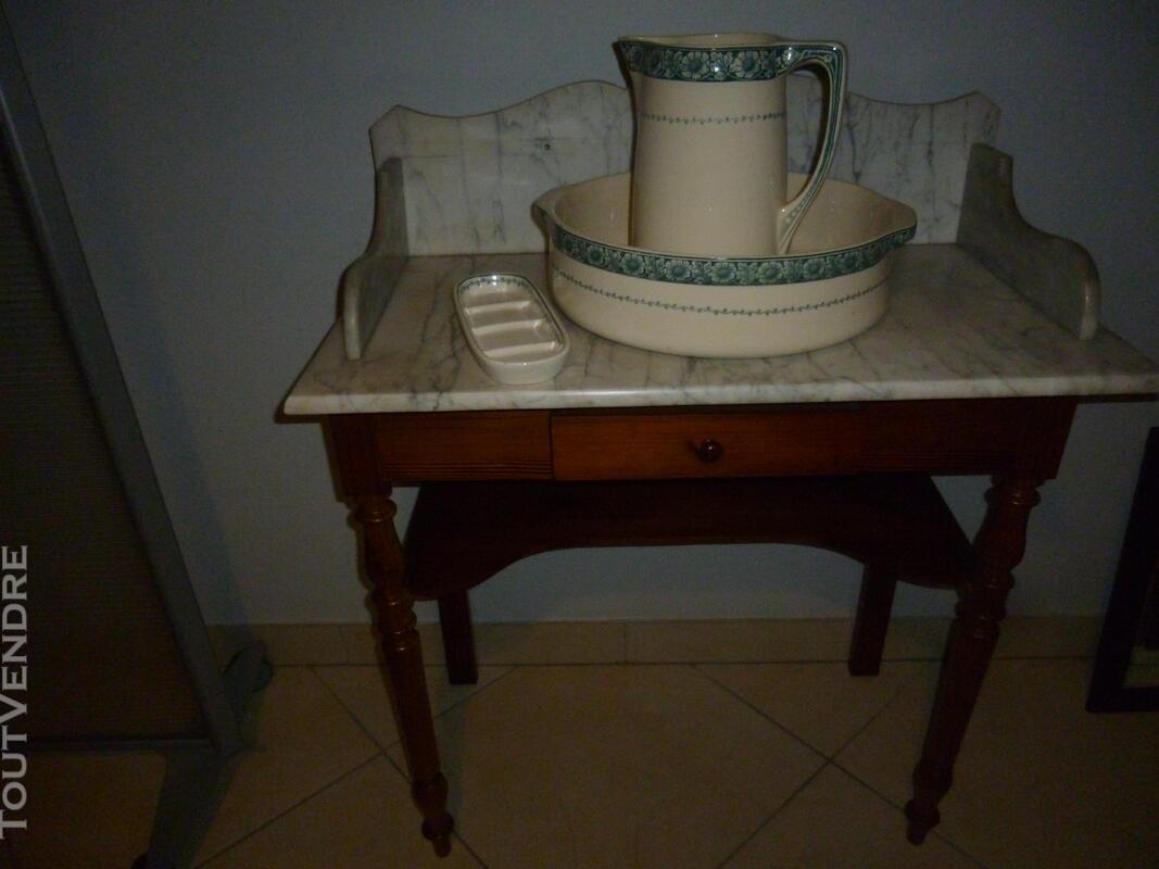 Table de toilette ancienne dessus marbre 501067715