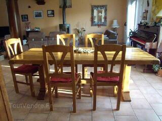 Table de Tonge et 6 chaises, chêne massif