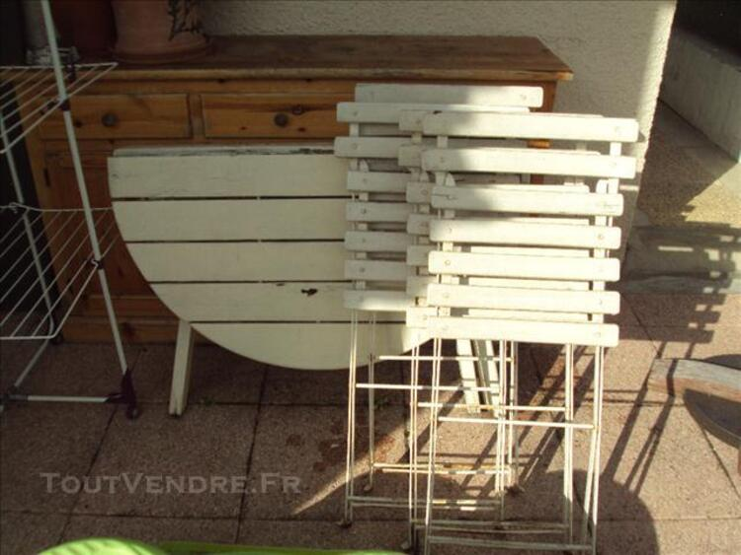 Table jardin pliable en bois + 4 chaises pliable en boi 76123622