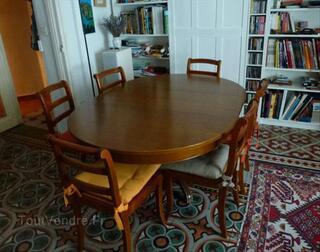 Table merisier massif GRANGE style L. Philippe + 6 ch.