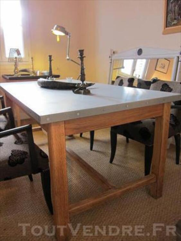 TABLE METAL ZINC ET CHENE 85428040