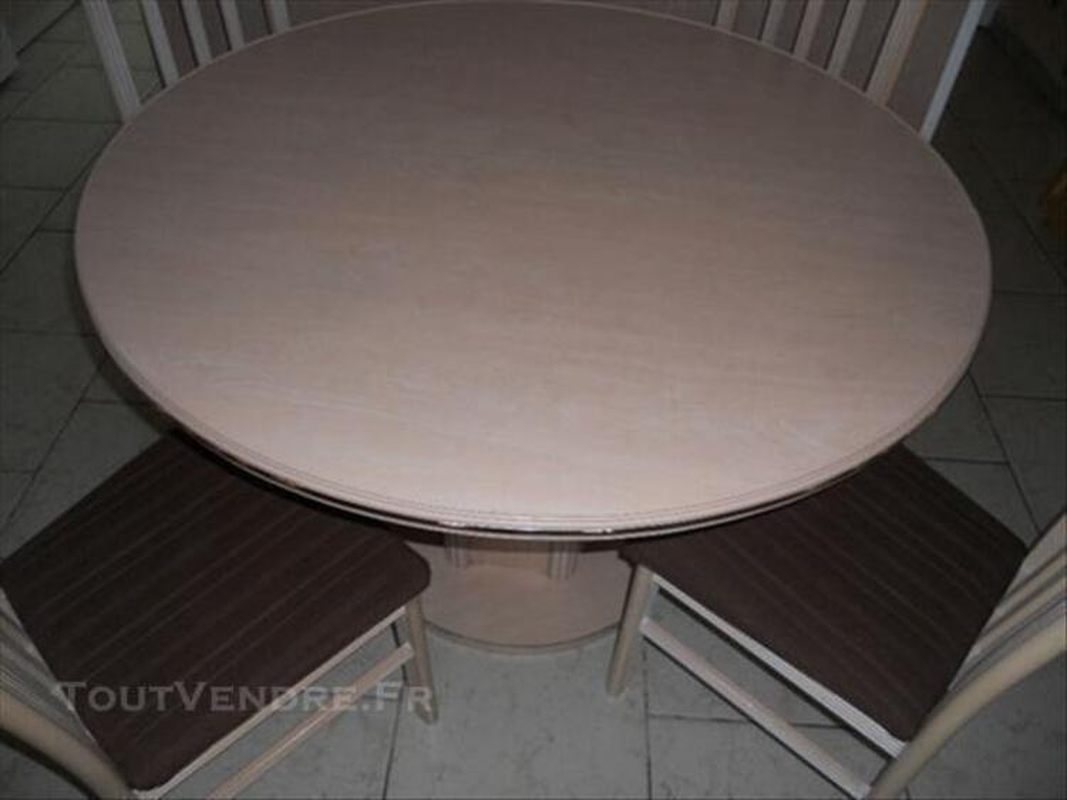TABLE RONDE 115 CM CERUSE ROSE + RALLONGE 76619163