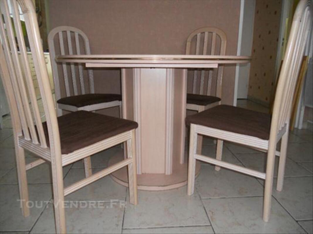 TABLE RONDE 115 CM CERUSE ROSE + RALLONGE 76619164