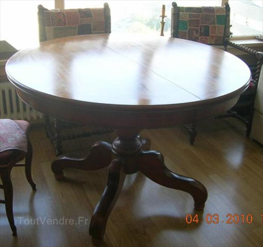 TABLE RONDE MERISIER MASSIF AVEC RALLONGES BON ETAT 95642836
