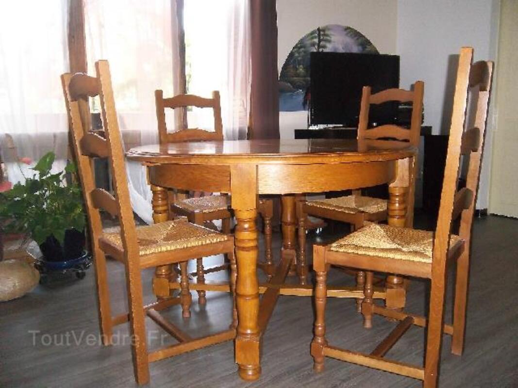 TABLE RONDE/RALLONGE INTEGREE + 6 CHAISES CHENE MASSIF 93832598