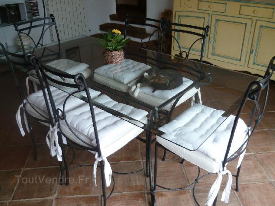Table  salle à manger  fer forge dessus verre +6 chaise 97137592