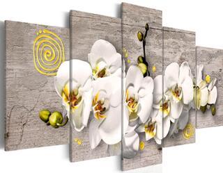 Tableau 5 en 1 orchidée blanc et jaune 100 x 50 cm