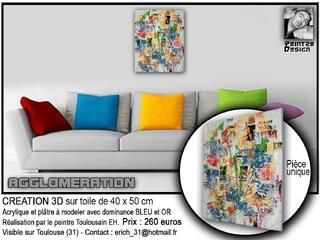 Tableau acryliques et matières 40x50 (agglomération).