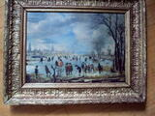 Tableau cadre rivière gelée personnages ancien