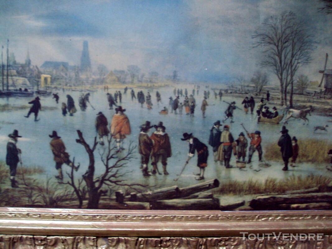 Tableau cadre rivière gelée personnages ancien 147409825