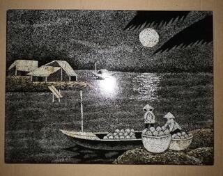 TABLEAU LAQUE EN COQUILLES D'OEUFS VIETNAM