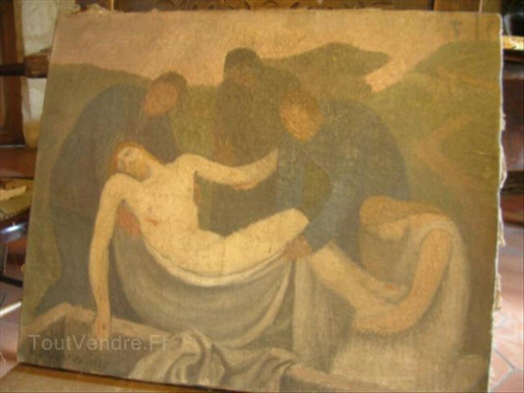 Tableau Lucien Deschamps christ au tombeau 54441837