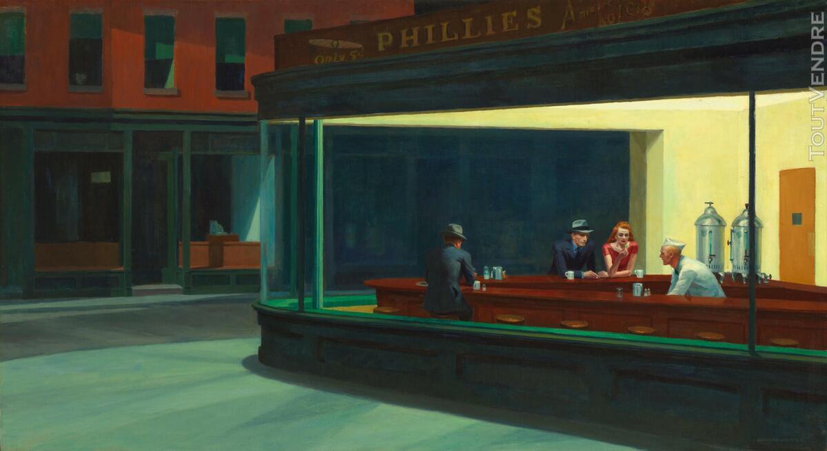 Tableau toile peinture Edward Hopper Nighthawks  Toile monté 566888525