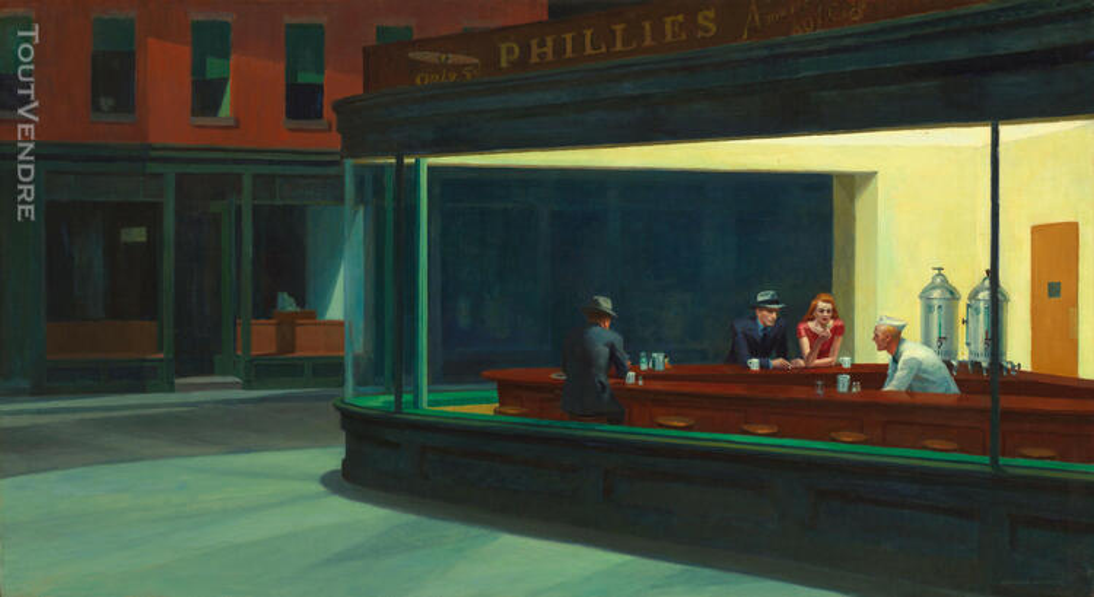 Tableau toile peinture Edward Hopper Nighthawks  Toile monté 617725240
