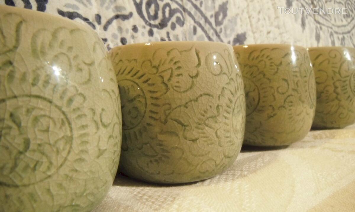 Tasses en CELADON Vert Jade décor floral incisé 116983491