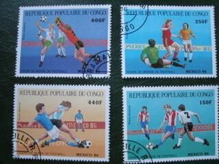 Timbres foot- ball du Congo