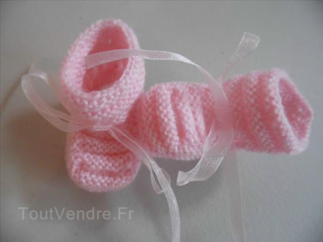 Tricot bébé chaussons laine tricot fait main 101345423