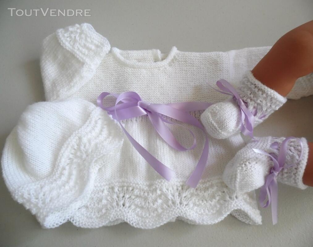Tricot bébé laine fait main brassière mauve 134284553
