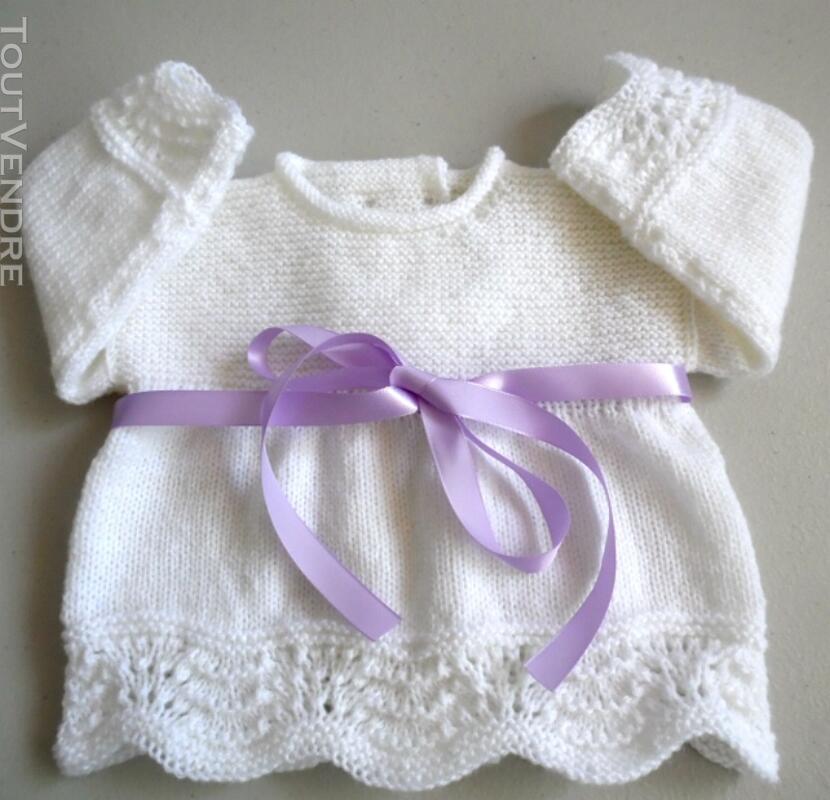 Tricot bébé laine fait main brassière mauve 134284555