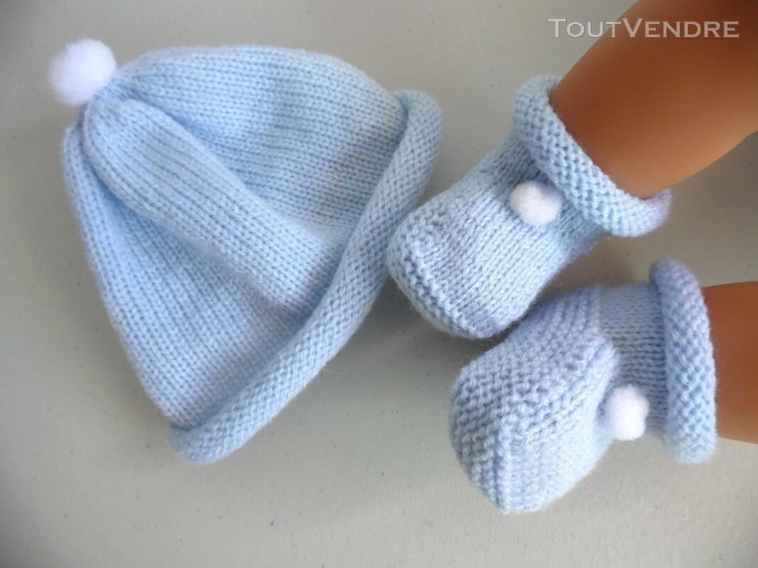 Tricot laine bébé fait main bonnet bleu à pompon 124117167