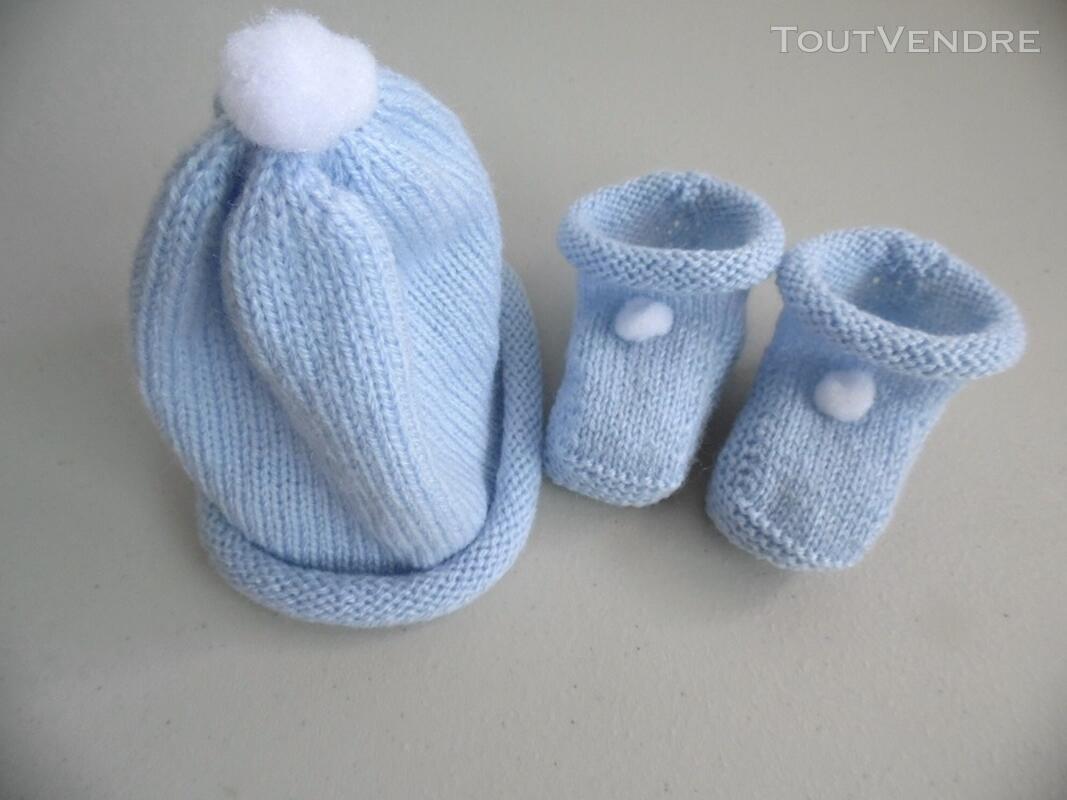 Tricot laine bébé fait main bonnet bleu à pompon 124117169