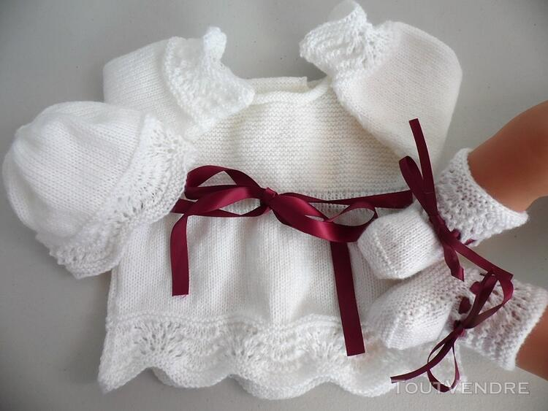 Tricot laine bébé fait main brassière bordeaux 122752848
