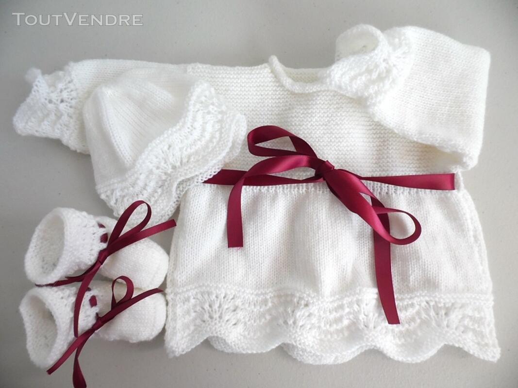 Tricot laine bébé fait main brassière bordeaux 122752849