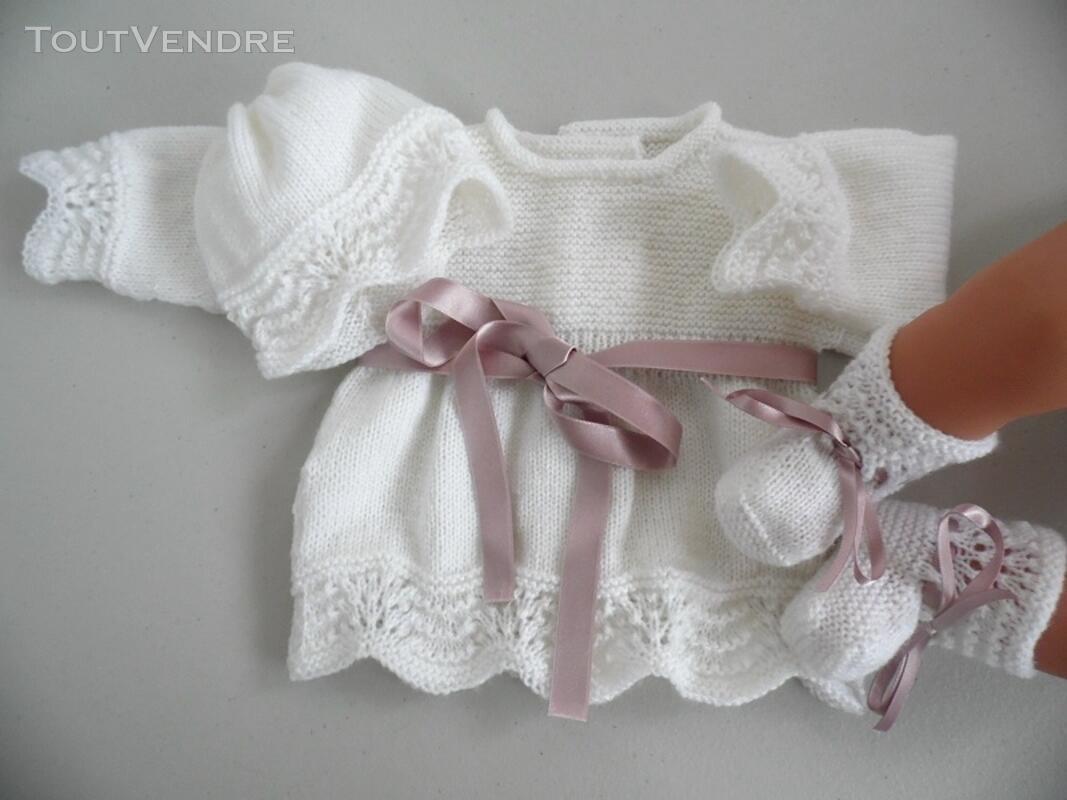 Tricot laine bébé fait main brassière lilas 121696211