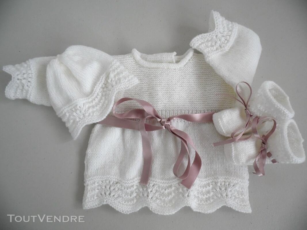 Tricot laine bébé fait main brassière lilas 121696212
