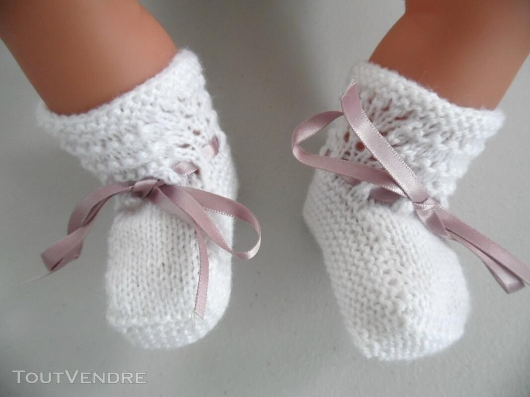 Tricot laine bébé fait main brassière lilas 121696213