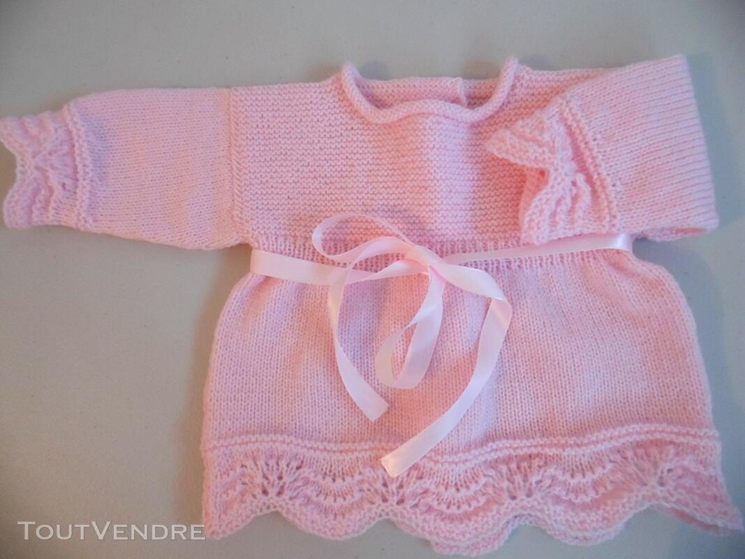 Tricot laine bébé fait main brassière rose 119351456