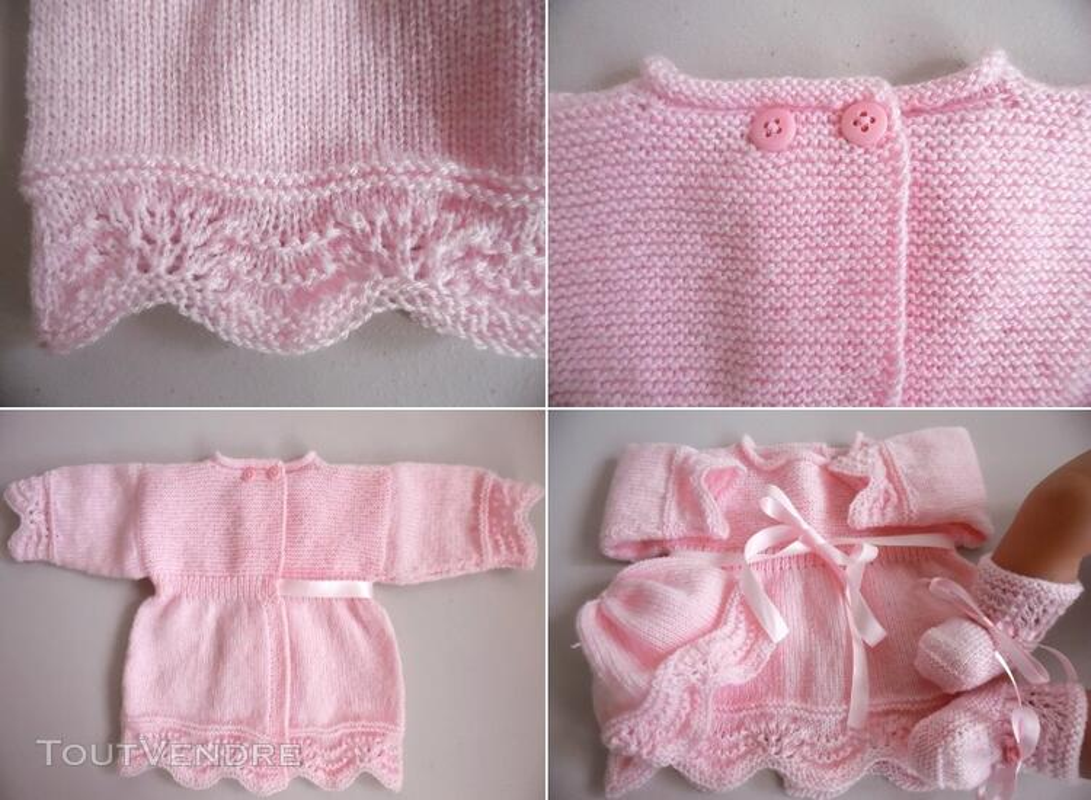 Tricot laine bébé fait main brassière rose 119351483