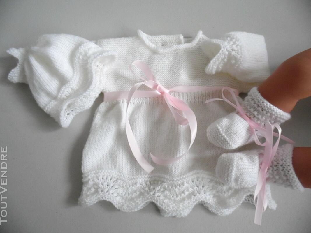 Tricot laine bébé fait main brassière rose 121696208