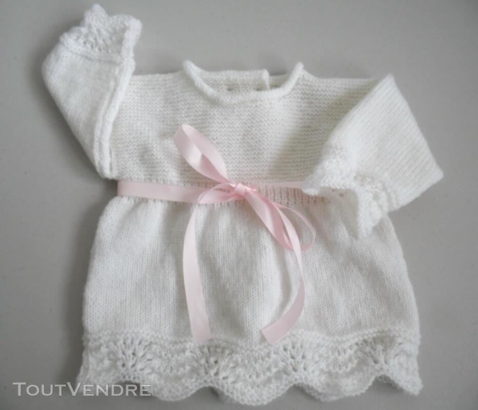 Tricot laine bébé fait main brassière rose 121696209