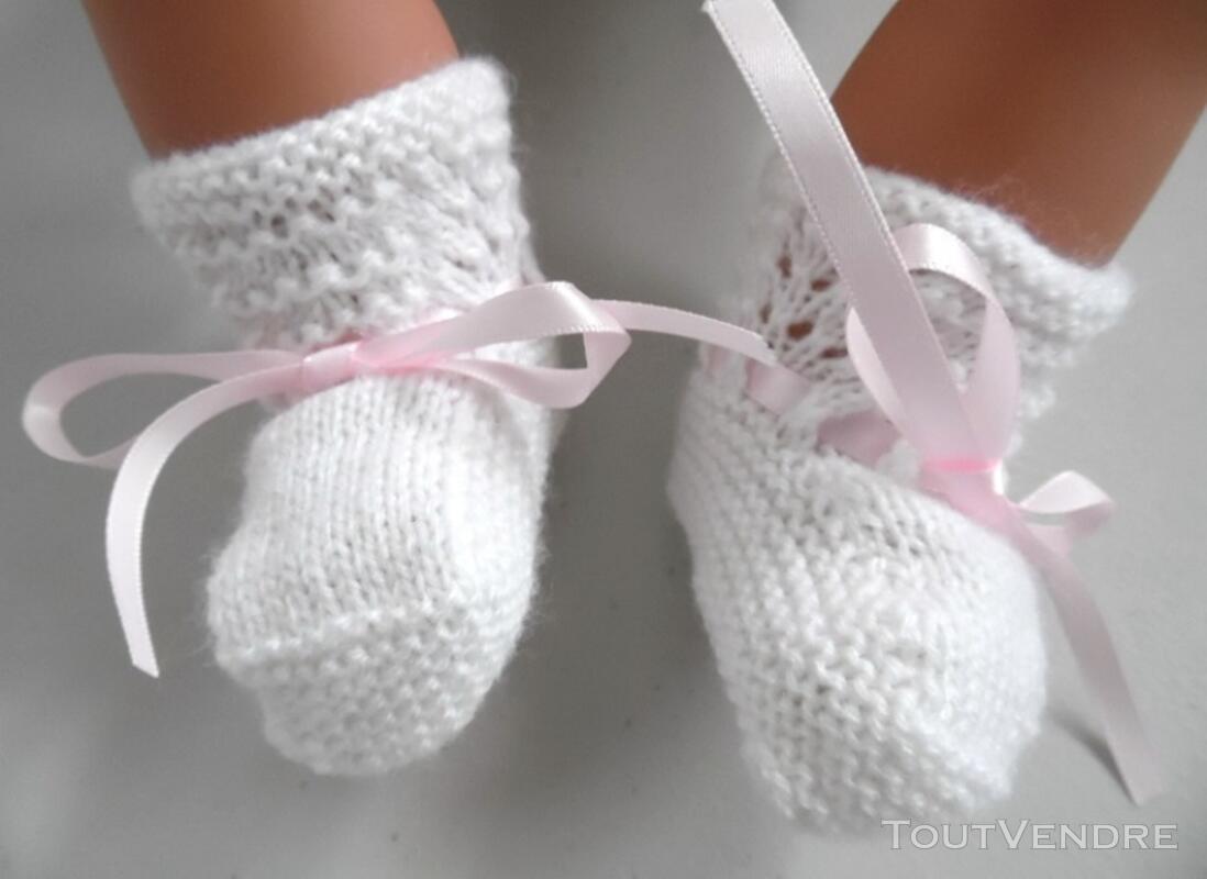 Tricot laine bébé fait main brassière rose 121696210