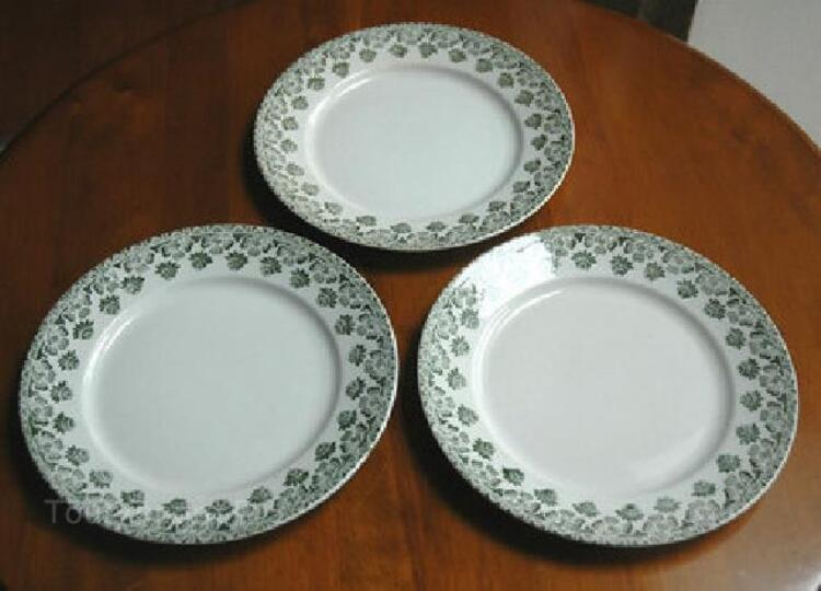 TROIS ASSIETTES EN BADONVILLER FT DECOR TREFLE 91858275