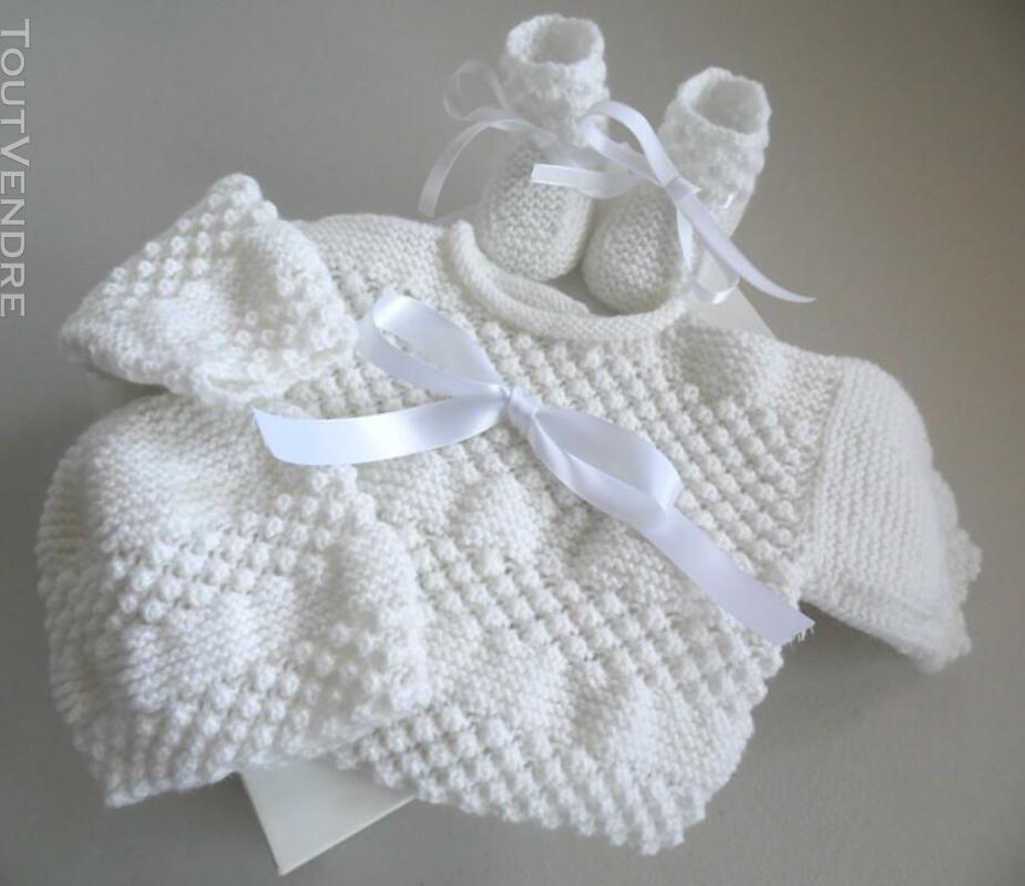 Trousseau Blanc bébé tricot fait main 221443221