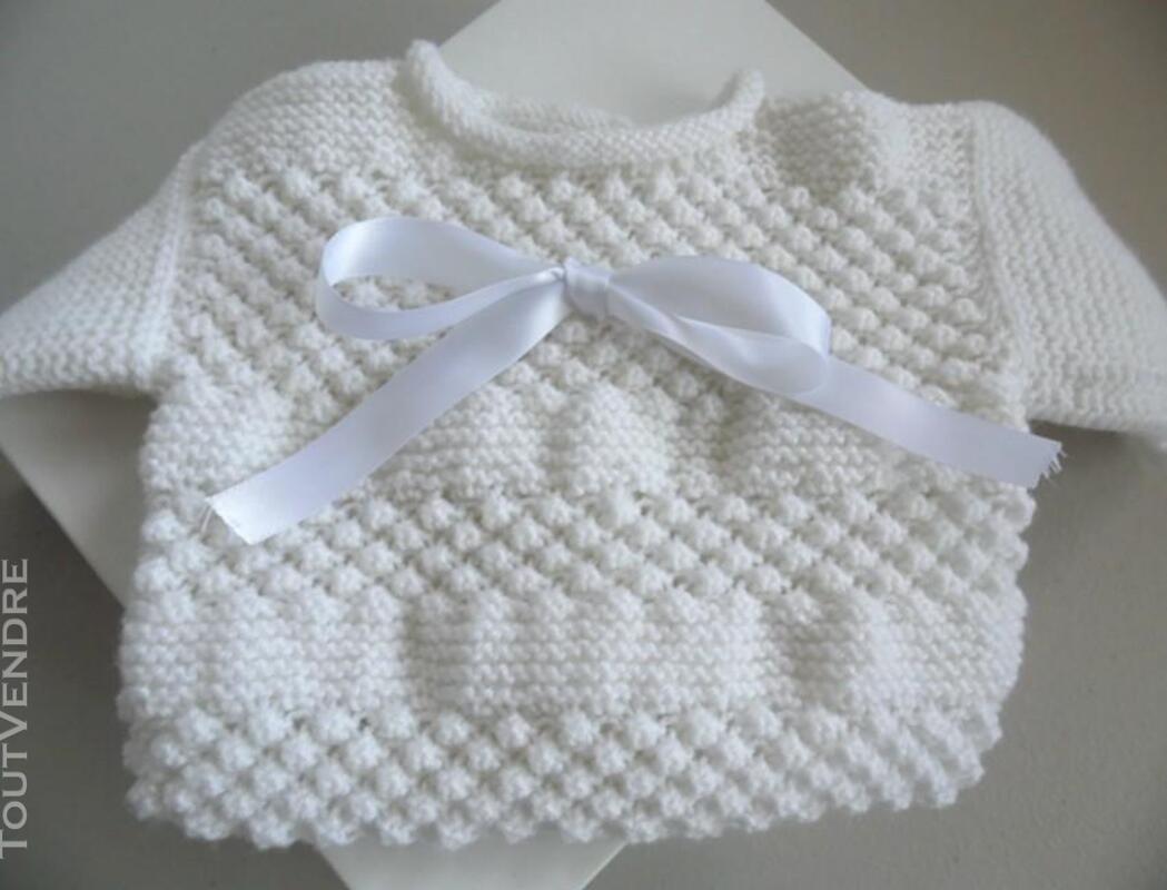 Trousseau Blanc bébé tricot fait main 221443224