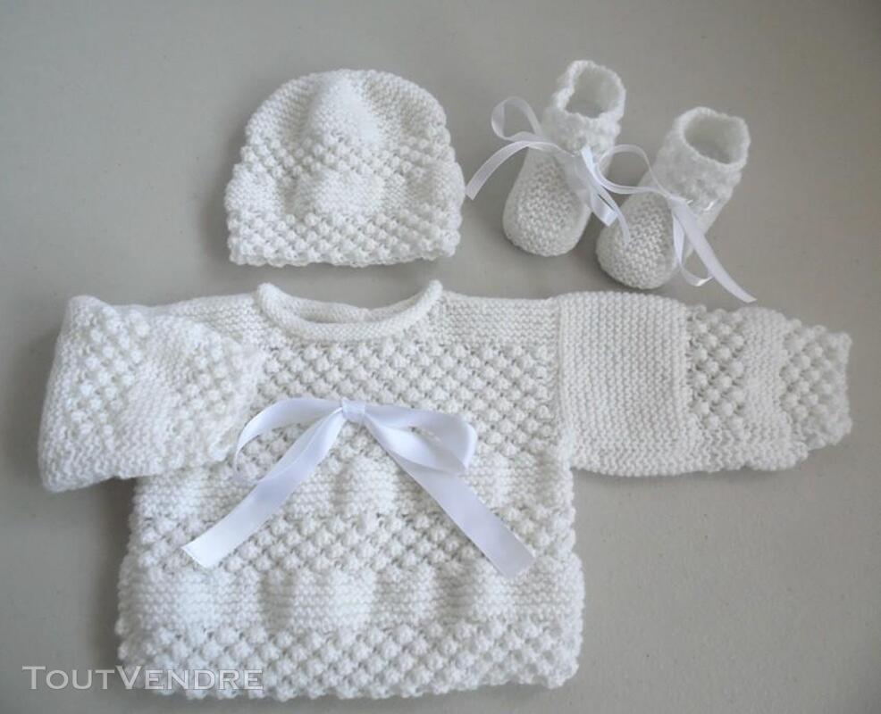 Trousseau Blanc bébé tricot fait main 221443233