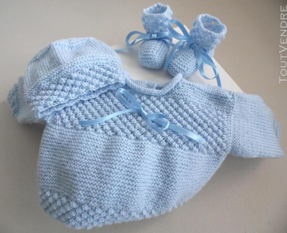 Trousseau bleu naissance tricot laine bébé fait main 205210668