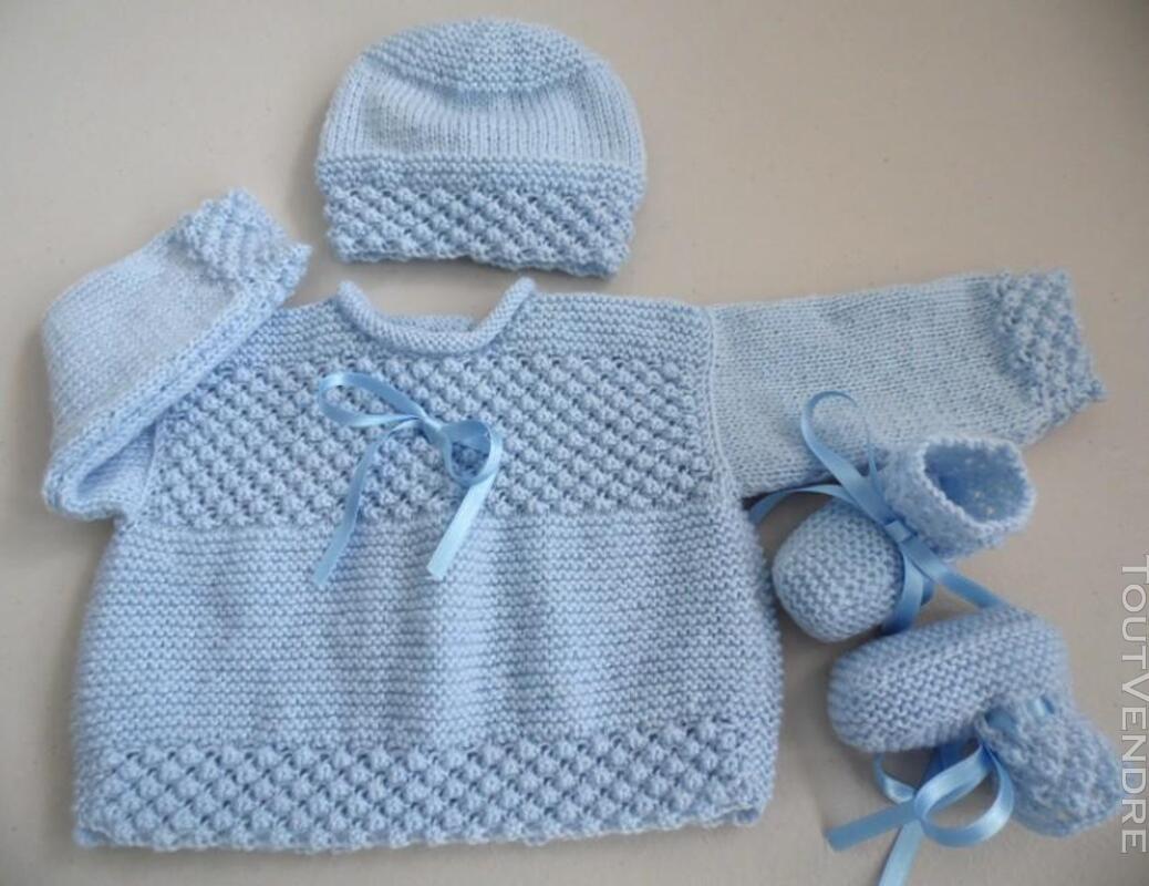 Trousseau bleu naissance tricot laine bébé fait main 205210671
