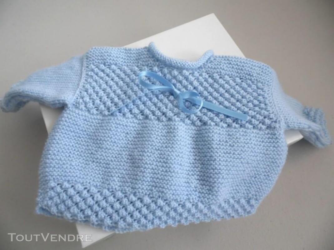 Trousseau bleu tricot laine bébé fait main 205210689
