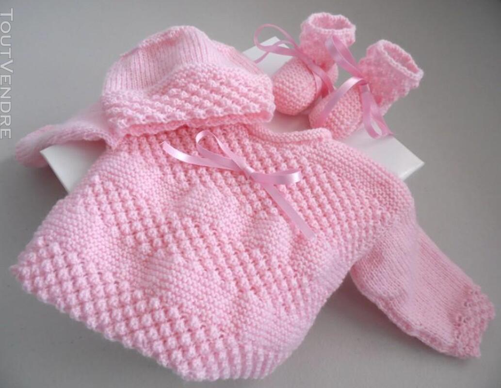 Trousseau rose tricot laine bébé fait main 205210644