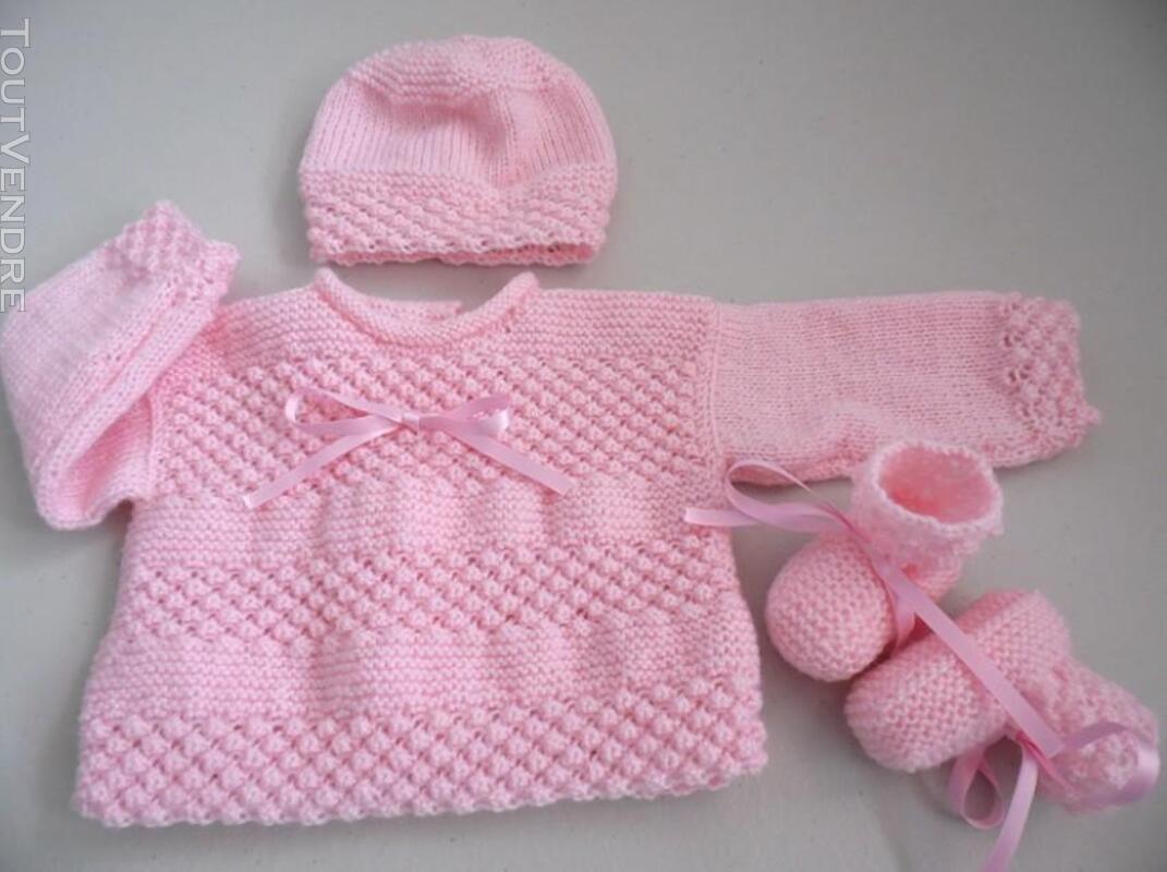Trousseau rose tricot laine bébé fait main 205210647
