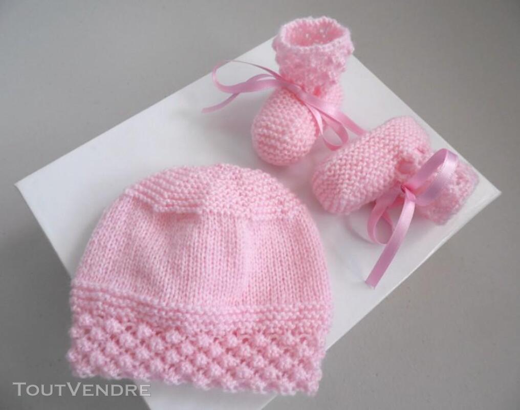 Trousseau rose tricot laine bébé fait main 205210650