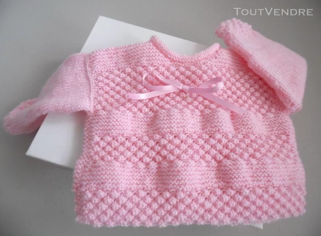 Trousseau rose tricot laine bébé fait main 205210653