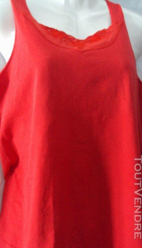 Tshirt haut top rouge coton 38 221320064